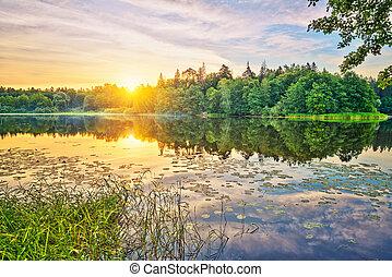 levers de soleil, sur, a, lac