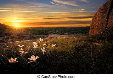 levers de soleil, sur, rocher enchanté