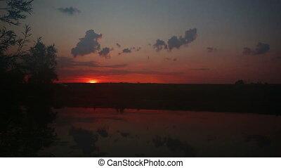 levers de soleil, sur, timelapse, lac, paysage