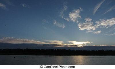 levers de soleil, sur, timelapse, paysage rivière