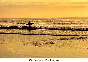 levers de soleil, surfeur