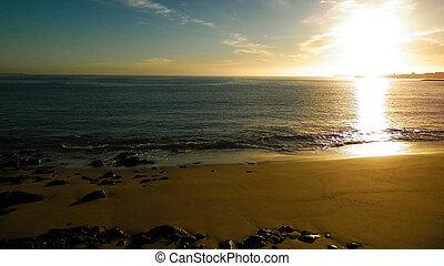 levers de soleil, surprenant, atlantique, sur, ocean.