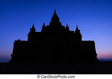 levers de soleil, temple, silhouette