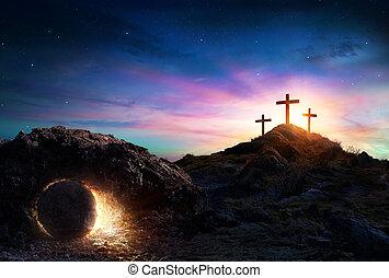 levers de soleil, -, vide, résurrection, crucifixion, tombe