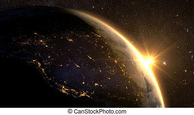 levers de soleil, vue, de, la terre