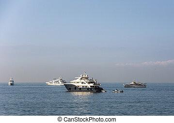 levers de soleil, yacht, luxe, golfe, naples