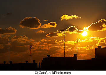 levers soleil, et, coucher soleil