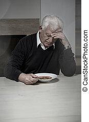 leves, elhagyott, étkezési, ember