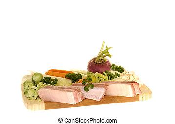 leves, növényi, noha, hús