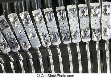 leviers, ancien, lettres, renversé, métal, machine écrire