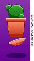Levitating cactus on a purple background