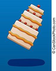 Levitating cake on a blue background