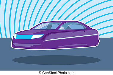 Levitating Car - levitating car vector illustration clip-art...