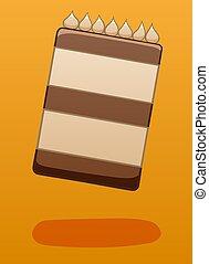 Levitating chocolate cake on a orange background