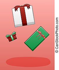 Levitating gifts on a pink background