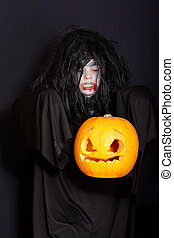 Levitating Halloween pumpkin