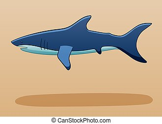Levitating shark on a beige background