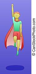 Levitating superhero boy on a purple background