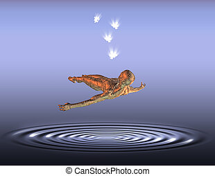 Levitation - Figure floats above rippled surface