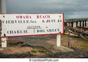 levningerne, i, den, militær, havn, hos, omaha, strand