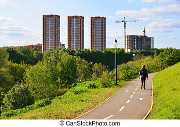 Levoberezhny Eco-friendly district in Khimki city, Russia - ...
