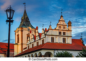 Levoca town, old Town Hall in historical centre at sunset.