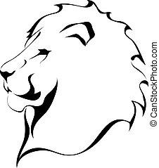 lew, głowa dalejże, niejaki, biały, tło., capstrzyk