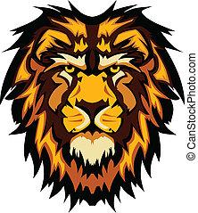 lew, głowa, graficzny, maskotka, wektor, ima