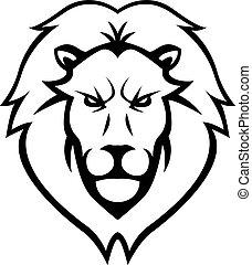 lew, projektować, głowa, ilustracja
