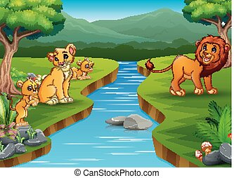 lew, szczęśliwy, interpretacja, rodzina, natura
