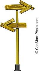 lewa strona, dobry, dwa, kształt, deski, drewniany, drogowskaz, strzały, szorstki, robiony