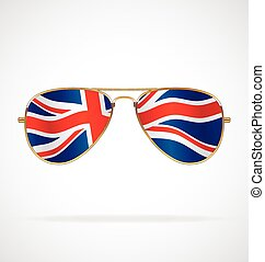 lewarek, bandera, chłodny, lotnik, zjednoczenie, uk, wektor, sunglasses