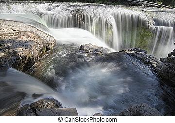 lewis, inférieur, rivière, closeup, chutes