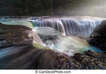lewis, inférieur, rivière, sommet, chutes