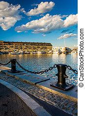 Lewis Wharf, in Boston, Massachusetts.