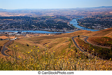 Lewiston Hill Snake River Idaho - View of Snake River in...