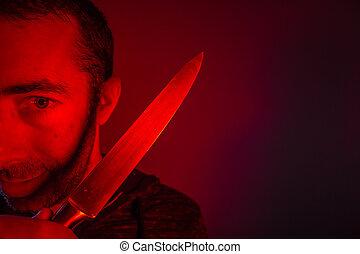 lewy, patrząc, aparat fotograficzny, closeup, dzierżawa, nóż, człowiek