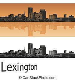 Lexington skyline in orange background in editable vector...