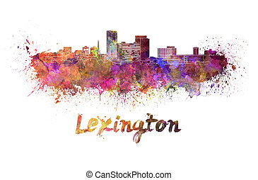 Lexington skyline in watercolor splatters with clipping path