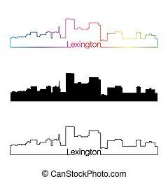 Lexington skyline linear style with rainbow in editable...