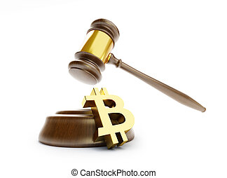 ley, bitcoin, en, un, fondo blanco, 3d, ilustración, 3d,...