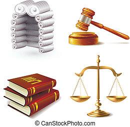 ley, conjunto, iconos