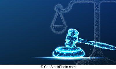 ley, escalas, azul, poly, símbolo., abogado, bajo, vector,...