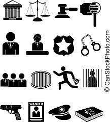 ley, justicia, iconos, conjunto