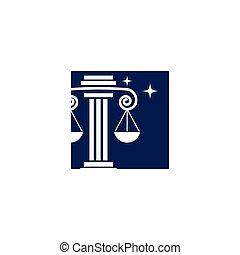 ley, justicia, logotipo, plantilla