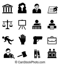 ley, legal, justicia, icono, conjunto