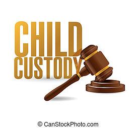 ley, martillo, custodia, ilustración, niño