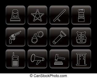 ley, orden, crimen, policía, iconos