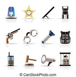 ley, orden, policía, y, crimen, iconos