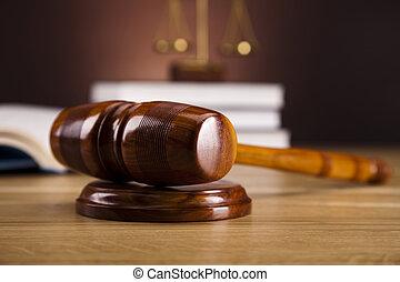 ley, y, justicia, concepto, martillo